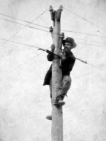 Worker Reparing Telegraph Line? 1862 or 1863/